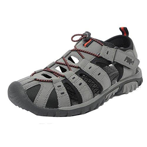 PDQ Herren Sandale / Trekking-Sandale Grau/Rot