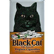Blechschild - Black cat cigarettes - 20x30cm Nostalgieschild Retro Schild Metal tin sign