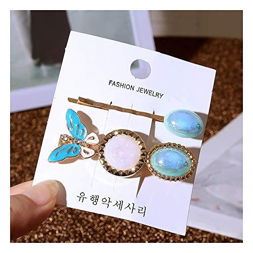 Httzhongchuang Neue Haarspangen Perle Schmetterling Haarspange Set Damen Modeschmuck Haarnadeln, blau