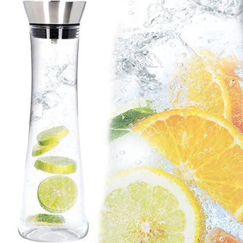 Wasserkaraffe mit Deckel und Sieb 1 L Glas Karaffe für kohlensäurehaltige Getränke und Spülmaschine geeignet