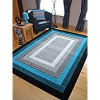 Modern Small Extra Large Sahara Teal Silver Grey Border Carved Quality Thick Floor Long Carpet Runner Rugs Mat (200cm x 300cm)
