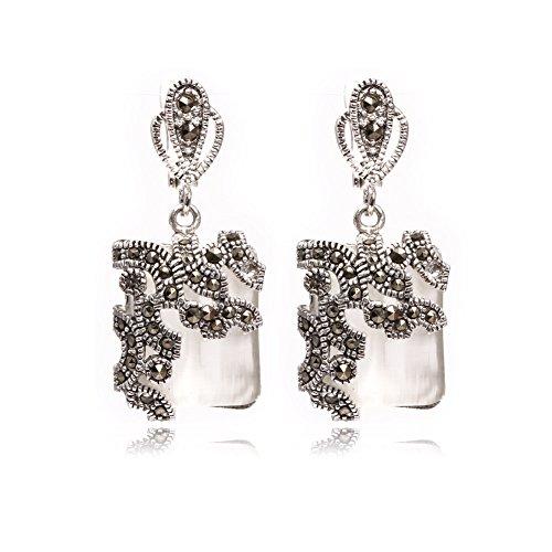 Sweet & Happy Girl's Store 15mm Platz White Cat Eye Perlen tibetischen Silber Markasit Basis baumeln Ohrstecker Schmuck
