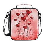 Bigjoke pranzo, Valentine rose Heart lunch box isolato in neoprene con zip per adulti bambini Outdoor Lady uomo scuola borsa da picnic e campeggio