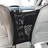 MICTUNING Rete di Maglia Universale per Auto Sedili Barriera Divisorio per Cani Animali Bambini per Sicurezza Rete del Carico Supporto per Borsa Telefono Comestici(Dual Layer)