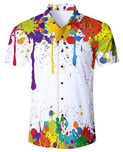 RAISEVERN Herren weiß - Malerei Gedruckt Loose Fit Short Sleeve Weinlesehawaiische Button - Down - Kleid Hemd