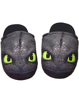 Dreamworks Dragons Kinder Hausschuhe / Slipper Ohnezahn Toothless, schwarz (33-34)