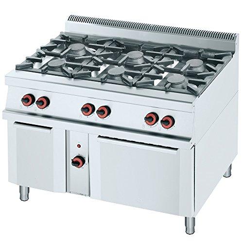 Macfrin R6E Cocina a Gas de 6 Fuegos y Horno 47 Kw