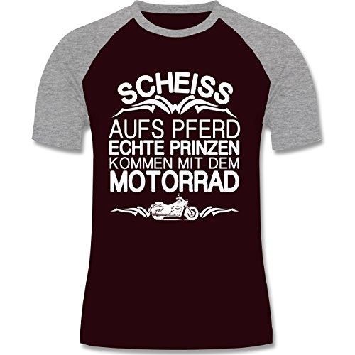 Motorräder - Scheiß aufs Pferd echte Prinzen kommen mit dem Motorrad - zweifarbiges Baseballshirt für Männer Burgundrot/Grau meliert