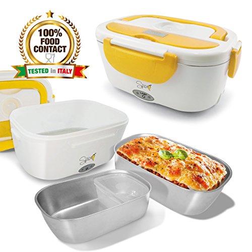 Spice -Fiambrera eléctrica modelo «Amarillo Inox» con bandeja extraíble de acero inoxidable portátil, recipiente de comida térmico