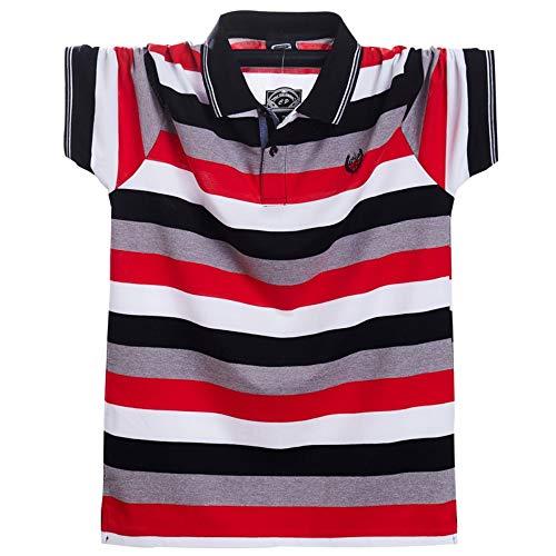 Lässige Cotton Polo Shirt (Herren Polo-Shirt,Männer Rot Polo Shirt Sommer Männer Lässig Gestreifte Kurzarm Polo Cotton Business Polo Shir Atmungsaktiv Und Wasserdicht Stilvoll Und Komfortabel T-Shirt Tragen, Party, Strand, G)