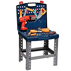 Playkidz Construction Workbench for Kids 45+ Tools & Accessories to Build