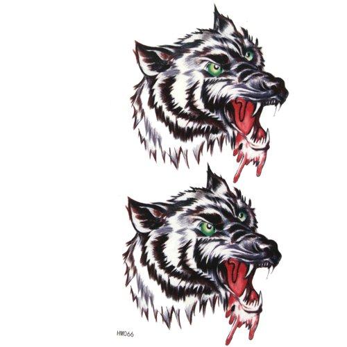 King Horse Autocollants de tatouage étanches pour les hommes et les femmes de tête de mode sexy féroce loup