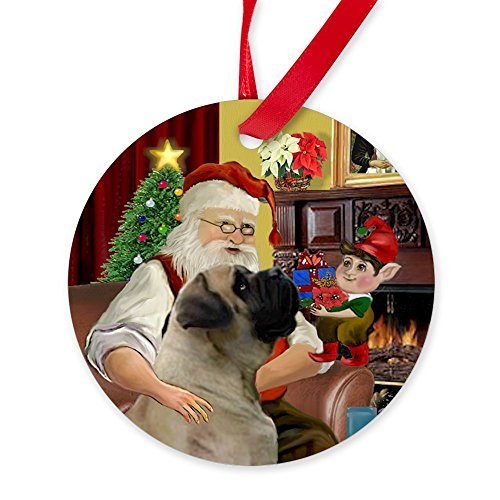 CafePress – Santa\'s English Bull-Mastiff Ornament (rund) – rund 4 inch weiß