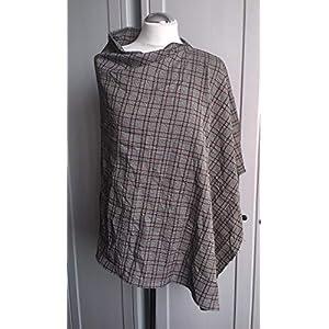 Asymmetrischer Poncho in Knitter-Optik – kariert grau rot weiß