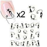 AllyDrew Fingernail Tattoo Black Cat Nail Art Water Nail Tattoos Water Transfer Slide Tattoos Nail Decals, Black Cats (2 sheets)