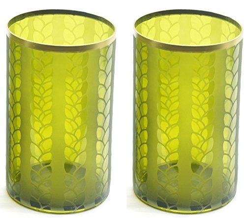 Yankee Candle Kerzenhalter aus Glas, klassisch, maisgelb und metallfarben, groß, Milchglas, 2 Stück, Dekozubehör, Kerzengefäß