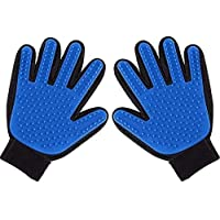 Pet Grooming Glove, Bath Brush for Dog & Cat, Pet Hair Remover Gloves for Grooming, Shedding, Bathing, Massage, Efficient Brushes Magic Mitt Enhanced Five Finger Design, 1 Pair (Blue)