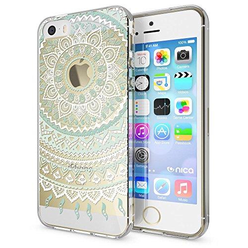 iPhone SE 5 5S Hülle Handyhülle von NICA, Slim Silikon Motiv Case Schutzhülle Dünn Durchsichtig, Etui Handy-Tasche Back-Cover Transparent Bumper für Apple iPhone 5 5S SE, Designs:Deer Mandala Blau Türkis