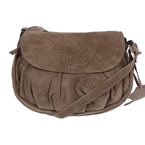 Christian Wippermann Leder Schultertasche Abendtasche Umhängetasche Überschlagtasche Ledertasche 22cmx18cmx5xcm (BxHxT) Taupe