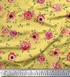 Soimoi Jaune Batiste de Coton en Tissu Feuilles camélias en Fleurs Floral Tissu Imprime Metre 42 Pouce Large