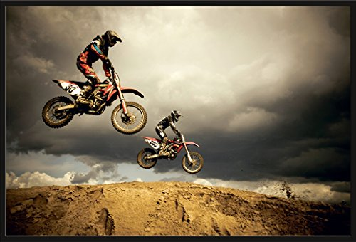 Motorcycles Motocross Enduro - Big Air Jump Motorräder Poster Plakat - Grösse 61x91,5 cm + Wechselrahmen, Shinsuke® Maxi Kunststoff schwarz, Acryl-Scheibe