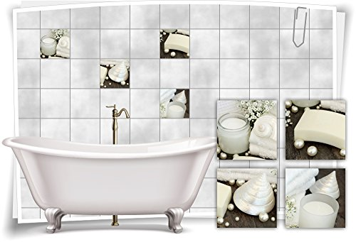 Medianlux Fliesenaufkleber Fliesenbild Kerze Perlen Muschel Weiß Perlmutt Wellness SPA Aufkleber Sticker Deko WC Bad, 10x10cm