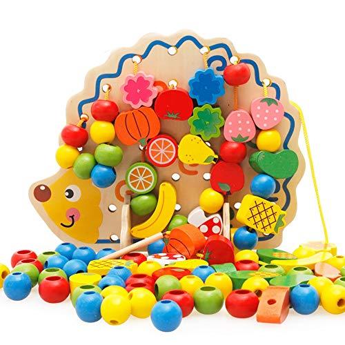 ADATEN Perlen-Labyrinth Holz Puzzle-Spielzeug Weisheit Perlen Einfädeln Obstbaum Igel Schnur Mini Home Activity Center frühe pädagogische Spielzeug Geschenk für Baby,B - Kreis Holz-puzzle