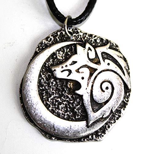 Tolma Halsband Wolf Gesicht Mond – Schmuck Wikinger – Tier Totem für Courage und Kraft – Symbol Tribal Rune Celtic Jagd – Geschenk Originelles Herren Damen...