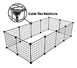 Tespo Parc de chien, clôture portative intérieure en métal de yard de fil pour de petits animaux, tente de clôture de caisse de chenil de Popup, panneaux noirs de 12