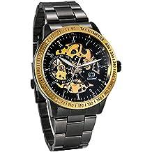JewelryWe Reloj Mecánico Automático para Hombre Reloj Negro Acero Inoxidable, Grande Reloj de Pulsera Hueco