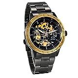 JewelryWe Reloj Mecánico Automático para Hombre Reloj Negro Acero Inoxidable, Grande Reloj de Pulsera Hueco Transparente, Vidrio Azul Regalo de Navidad