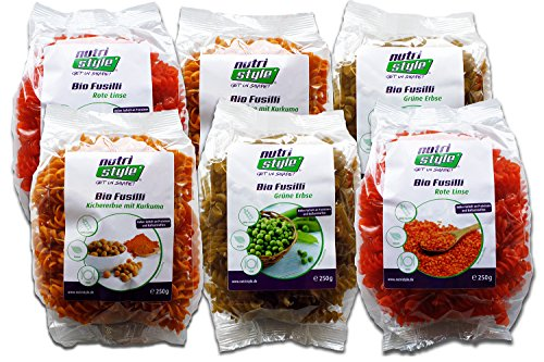 BIO Protein-Nudeln (Fusilli 6 x 250g) - 2xRote Linsen, 2xKichererbse-Kurkuma und 2xGrüne Erbse - Eiweißnudeln - VEGAN & GLUTENFREI - Bester Geschmack aus dem Pasta-Land Italien!