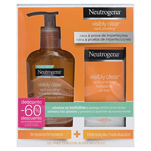 Neutrogena Visible Clear Paquete Hidratante con Limpiador Diario y Crema...