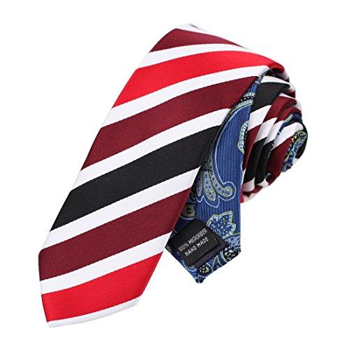 EAEF0045 Rote Streifen Microfiber D¨¹nne Krawatten Britische Accessoires Stahl Blau Gemusterte Doppelseitige Skinny Krawatte Von Epoint (Streifen-krawatte Britische)