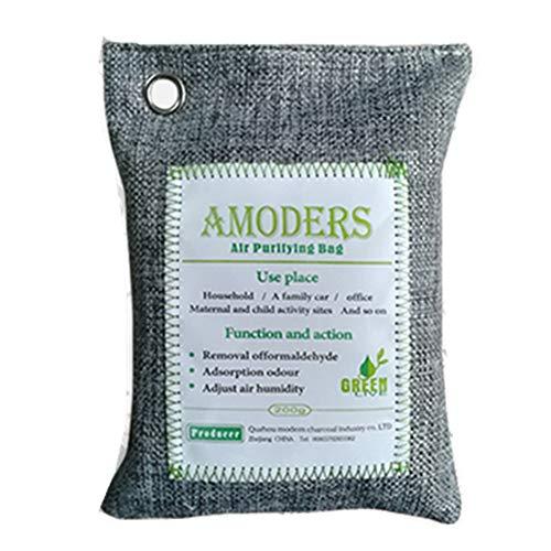 Immoch 500g/200g/75g Bolsa de Carbón Activado de bambú Eliminador de Olor Purificador De Aire Ambientador para Coche casa Armarios Cocina