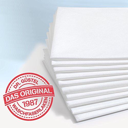 Waschfaserlaken PLUS PREMIUM (400x waschbar) 80×210 cm 1 Stück weiß – OEKO-TEX® geprüft – ORIGINAL Dr. Güstel – Vlieslaken, Vliestuch, Hygiene-Auflage - 2