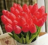 StillCool Blumen Tulpen Künstliche mit Blättern für Hochzeits-Blumenstrauß Deko Blumen Tischdeko Blumendeko Kunstblumen in 7 Farben Blumendekoration (rot, 6)