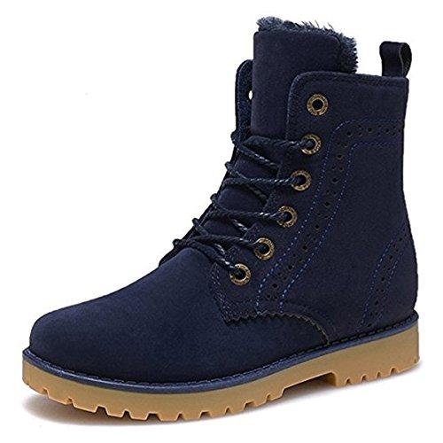 Meurry Hombres Mujer Unisex Botas de Invierno Botas Martín Calentar Botines Impermeables Botas de Nieve Botas Antideslizantes Zapatos de Invierno Planos Botas con Cordones Botas de Trabajo Azul,43EU