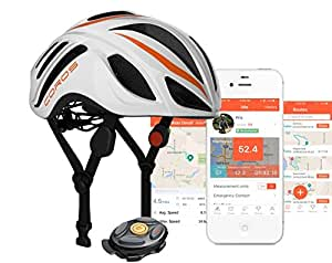 COROS LINX SMART CONNECTED BLUETOOTH HELMET IN WHITE AND ORANGE WITH BONE CONDUCTION TECHNOLOGY (Medium) (Medium)