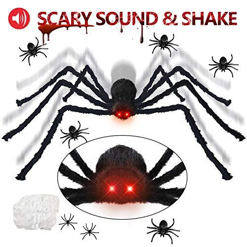 Kohmui Halloween Deko, Halloween Spinne Deko Spinnennetz Dekoration, 125cm LED Roten Augen Riesen spinne und Spinngewebe