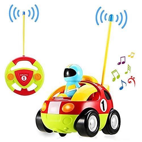 Yojoloin Fernbedienung Racer Auto Spielzeug für Kleinkinder, Cartoon RC Polizeiauto Spielzeug mit Musical & Licht, Radio Control Cartoon Spielzeug Auto Beste Geburtstagsgeschenk für Kinder Kinder(Rot)
