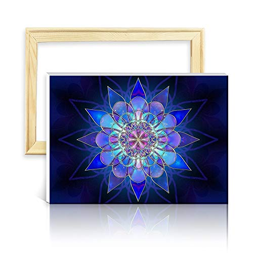 ufengke Kit Pintura de Diamantes 5D Flor Mandala Punto de Cruz Diamante Completo DIY para Amantes del Arte, con Marco de Madera, Diseño 25x35cm