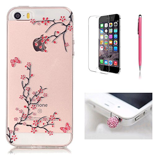 Pheant®[4 in 1] Apple iPhone 5S/5/SE Coque Gel Étui Housse de Protection Transparent Cas avec Verre Trempé Protecteur d'écran Stylet Bouchon Anti-poussière(Orchidée) Prune Fleur