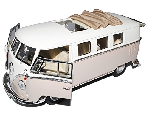 VW-Volkswagen-Bully-T1-T-1-Bulli-Grau-1962-ffnendes-Dach-118-Yatming-Modellauto-Modell-Auto