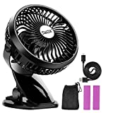 Stroller Fan Clip on Fan Rechargeable Battery Operated Fan - Powerful Airflow Low