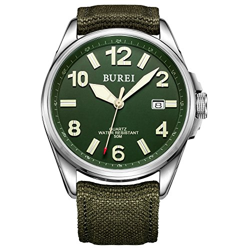 BUREI-Unisex-Military-Watches-Date-Analogue-Display-with-Arabic-Numerals-Green-Dial-and-Soft-Canvas-Strap