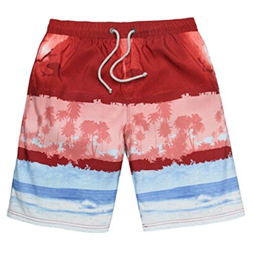 Männer Short Strand Shorts Casual Quick-dry-Sport-Schwimmen Trunk rot-Weiss