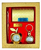 #9: CrownLit's 4 in 1 Gift Set with Metal Table Clock,Crystal Pen,Business Card Holder, Metal Keychain
