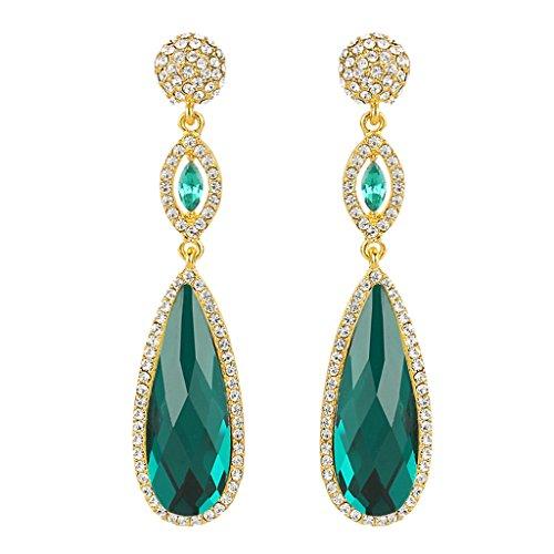 Ever Faith - Cristal Austriaco Fashion Larga Lágrimas Pendientes Oro-