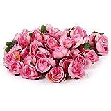 50pz 3 Centimetri Nozze Rose Di Seta Artificiale Capolini Decorazione Rosa